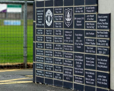 First set of bricks for the new supporters wall is now in place